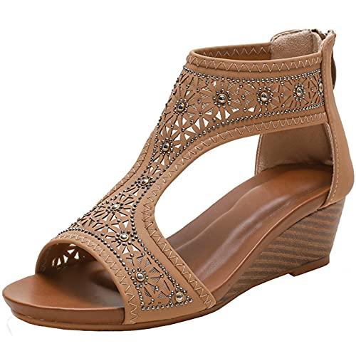 Sandali da Donna Sandali Summer Mom Scarpe Scarpe comode Elegante Partito Casual Sandalias Femminile Sole Sole Sole Sole Sole,Apricot,38 EU