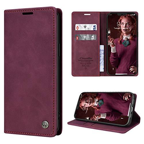 RuiPower Funda para iPhone 12 con Tapa, Funda para iPhone 12 Pro Libro de Cuero PU Premium Magnético Tarjetero y Suporte Silicona Carcasa para iPhone 12/ para iPhone 12 Pro (6.1'') - Vino Tinto