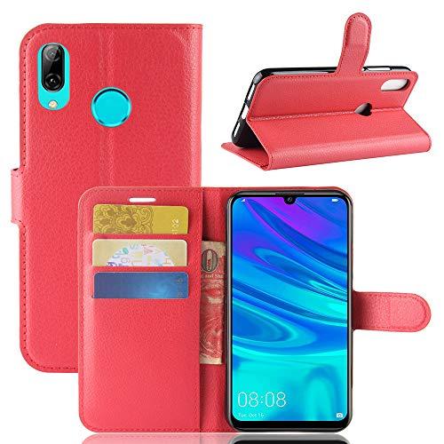 Aidinar Funda para Xiaomi Redmi Go, Flip/con Ranuras para Tarjetas de Crédito/Cubierta Magnética, para Xiaomi Redmi Go Funda(Rojo)