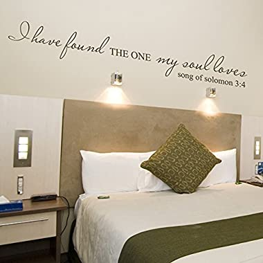 Wall Decal Decor I Have Found the One My Soul Love Song of Solomon 3:4 Romantic Wall Sticker Quotes Vinyl Wall Decal Mural Wedding Registry Home Decor163;168;Medium,Brown163;(C)