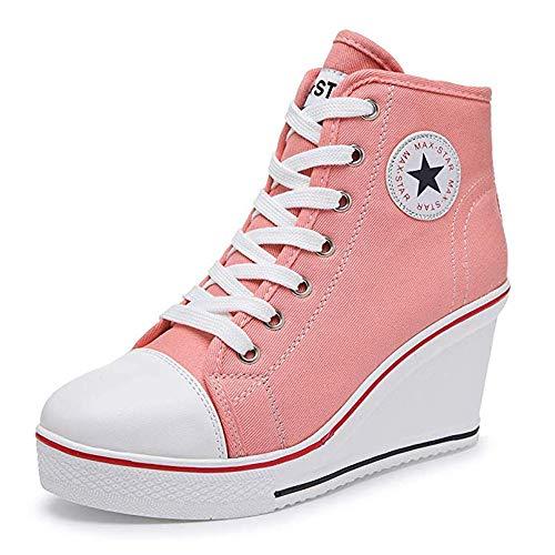 Zomiee Damen-Sneaker mit Absatz, Leinenschuhe mit High-Top, Keilabsatz, Turnschuhe mit Plateau, zum Schnüren, Reißverschluss an der Seite, Pumps, modisch, Pink - rose - Größe: 42 EU
