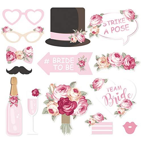 NICROLANDEE Bruiloft Photo Booth Props - 14 Pack Bruidsdouche Blush Roze foto Props met Mix van Hoeden Lippen Snor Wijnglas voor Meisjes Night Out Hen Party Verjaardag Feestbenodigdheden