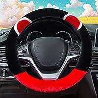ユニバーサルソフト快適ぬいぐるみ車のステアリングホイールカバー冬の暖かいステアリングホイールカバーセット滑り止めホイールスリーブプロテクターカーアクセサリー直径37-38CMの自動車インテリア,Black red