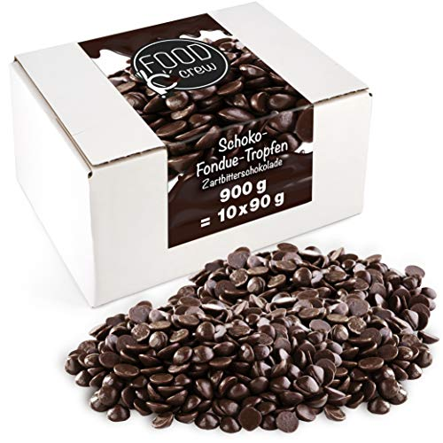 Sweet Wishes 900g Belgische Fondue Schokolade Zartbitter - Schokoladendrops - Feine Schokolade für den Schokobrunnen - 10 Portionsbeutel je 90 g verpackt