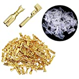 RuiLing 100-Pack 2.8mm Gold Female Spade Crimp Terminals with Insulating Sleeves Self Lock Plug Electrical Cable Quick Splice Connectors