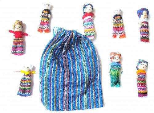 Muñecos quitapenas en bolsa (8 unidades, tamaño grande)Worry dolls