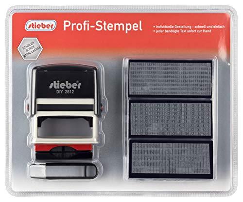 stieber Profi Stempel 5 Zeilen SUPER Maxi Set 2015: 6 Typensätze, 2 Kissen, Stempelunterlage (Bügelfarbe unten wählbar) (Bügelfarbe schwarz)