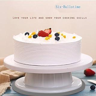 Six-Bullotime ケーキ回転台 ケーキ装飾台 ケーキ作り用 ターンテーブル ベーキング ツール デコレーション用 ケーキスタンド 目盛り PPプラスチック 滑り止め カラーボックス付き 28cm