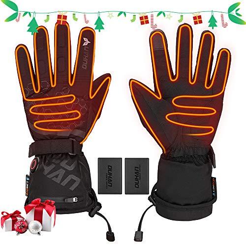ISSYZONE Beheizbaren Handschuhe, Beheizt Winter Akku Handschuhe mit 2400mAh Wiederaufladbare Lithium-Ionen-Batterie, 3-Stufen-Temperaturregelung und Touchscreen (XL)