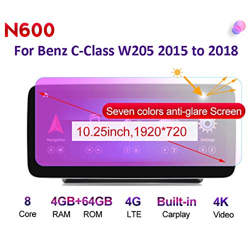 Android Radio Car Stereo Built-In Wireless Carplay 10.25/12.5 Pulgadas GPS Navegación para Benz C-Class W205 2015 to 2018 Coche Audio FM/Am/RDS Radio Video Player Bluetooth SWC 4G WiFi,N600