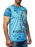 Batik T-Shirt Stretch Herren Designer Shirt Verwaschen Printed Wow S - XXL 045, Farbe:Petrol, Größe:2XL