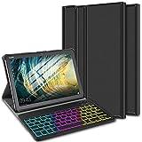 ELTD Funda con Teclado Español Ñ para Huawei MediaPad M5 Lite 10, Teclado inalámbrico 7 Colores Cubierta de Teclado retroiluminada de Tres particiones, (Negro)