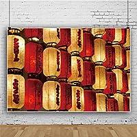 Qinunipoto 背景布 写真 布 写真撮影用 写真の背景 背景 ランタン 赤い提灯 黄色いランタン 十五夜 中秋の名月 夜 子供の写真 ポートレート写真の背景 スタジオのプロ背景幕 和風 写真ツール ビニール 1.5x1m