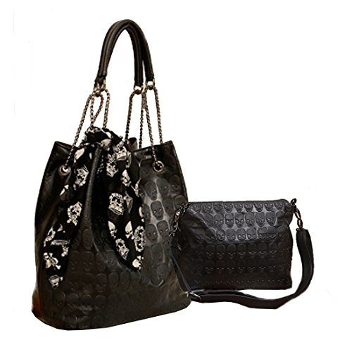"Material: Import Korean Pu leather (Faux Leather) Vintage gothic skull design with scarves; Chain strap; Metal feet protectors on bottom Totes, Hobo Bags, Shoulder Bags 2 in 1:1 shoulder bag,1 small insert bag and a gift Approximate Dimensions: 11.4""..."