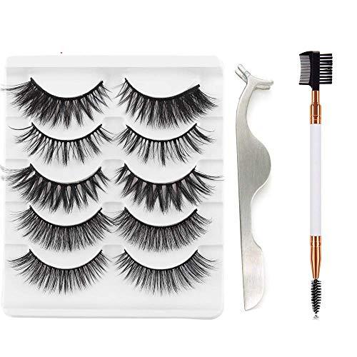 5 Pairs False Eyelashes 3D Faux Mink Hair Wispy Multilayers Cross Long Lashes Eye Makeup Tools Handmade with Tweezers Clip & Eyelash Brush(3D-22MIX)