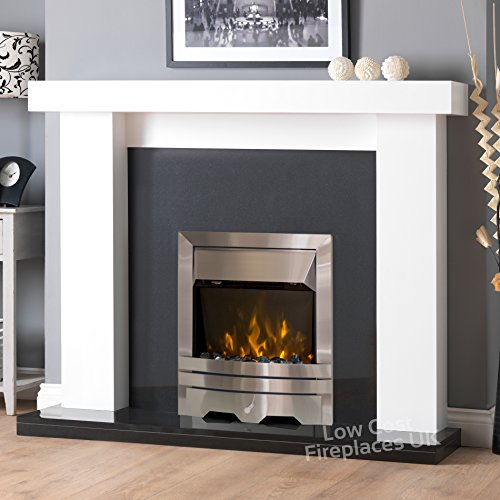 Electric White Surround Black Silver Steel Flame Fire Wall Free Standing LED Fireplace Suite Large Big 54