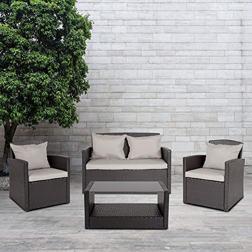 Flash Furniture Aransas Series 4 Piece Black Patio Set with Gray Back Pillows and Seat Cushions