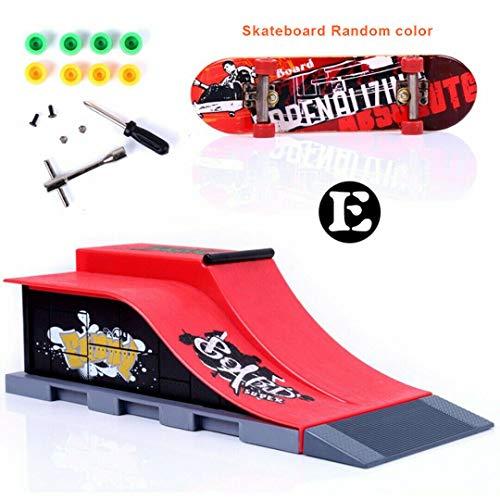 Sipobuy DIY Montage Mini Finger Skateboard Deck LKW Skate Park Bord Mit Rampe Zubehör Sets (Szene E)