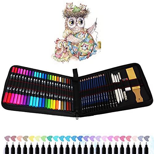 24 Pennarelli Punta Fine, 12 Matite da Disegno e Kit Disegno - Per Calligrafia, Disegno di Precisione, Scrittura, Colorazione per Adulti e Bambini, Mandala, Fumetto, Manga