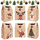 YUSONGIRL Christmas Kraft Paper Bags DIY Wedding Party Favor Boxes, Cartoon Assorted Patterns Xmas Gift Wrap Bags Presents Treats Candy Box Gift Boxes Christmas Goody Bags F, 24PCS