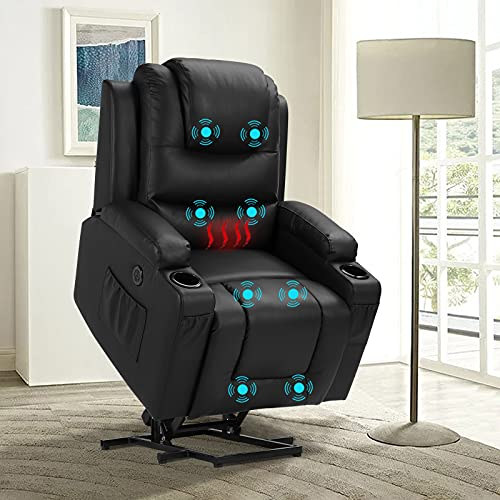 Power Lift Recliner Chairs for Elderly with Massage & Heating, Faux Leather Sleeper Chair Sofa Recliners for Living Room, Comfy Home Theater Seat Infinite Position Cup Holders USB Port Lumbar Pillow