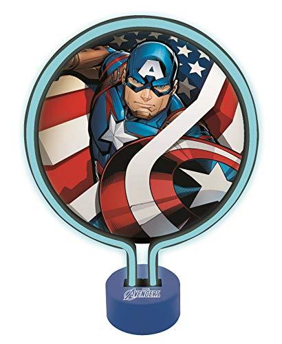 Marvel Los Vengadores - Lámpara de Neón, luz nocturna para los niños fans de los súper héroes de Marvel, color azul - Lexibook LTP100AV
