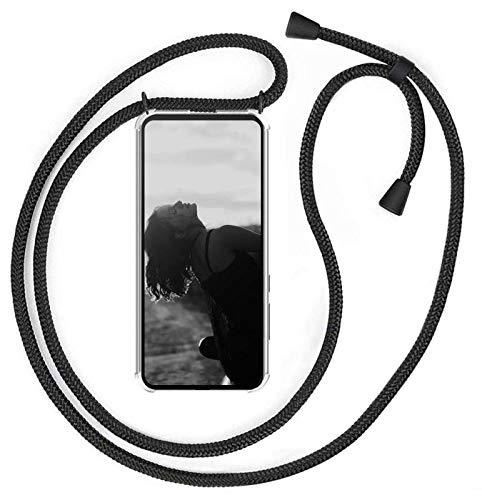 MXKOCO Handykette kompatibel mit Samsung Galaxy M31 - Handyhülle/Hülle mit Band-Umhängetaschen Hüllen mit Umhängeband Handykordel mit Schutzhülle Silikonhülle, Stylische Kette Hülle-Mattschwarz