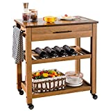 furduzz Wood Kitchen Island Cart on Wheels, 3 Tier Rolling Kitchen Cart Serving Cart Trolley with 1 Storage Drawer and 2 Open Shelves, Towel Rack, Locking Casters