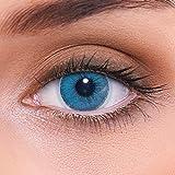 Lentes de contacto azules naturales 'Natural Sapphire' de alta cobertura + contenedor de LENZOTICA I 1 par (2 piezas) I DIA 14.00 I sin aumento I 0,00 dioptrías