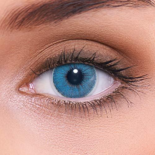 LENZOTICA Sehr stark natürlich deckende blaue Kontaktlinsen farbig NATURAL SAPPHIRE + Behälter von LENZOTICA I 1 Paar (2 Stück) I DIA 14.00 I ohne Stärke I 0.00 Dioptrien