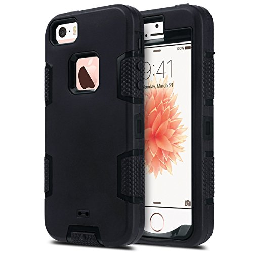 ULAK iPhone 5S Case Black, iPhone 5 Case,iPhone SE Case,Heavy Duty Shockproof Sport Rugged Drop Resistant Dustproof Protective Case Cover for Apple iPhone 5 5S SE -Black (Not fit iPhone SE 2020)