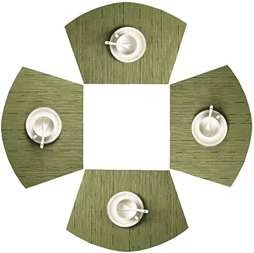 SHACOS Round Table Placemats Set of 4 Wedge Placemats Heat Resistant Round Table Mats Wipe Clean (4, Green)