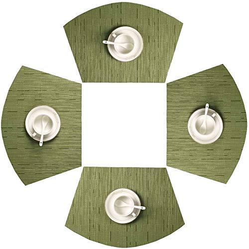 SHACOS - Juego de 4 manteles individuales redondos con forma de cuña, resistentes al calor, se limpia con un paño (4 unidades), color...