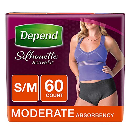 Depend Silhouette Active Fit Incontinence Underwear for Women, Moderate Absorbency, Disposable, S/M, Black, 60 Count