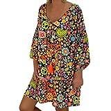 Millenniums Robe Femmes Chemise Manche Longue Robes de Plage ete Dénudées Casual Robe Imprimée Irrégulier Robe de Soirée Grande Taille Élégante Fête Cocktail (XXXXXL(EU 48), Noir)