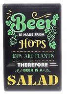 2個 DRD&Mビールはホップで作られています。したがって、ビールは男の洞窟、家、バー、パブ、クラブ、8インチ×12インチのヴィンテージ風のブリキの看板TS337に最適なサラダです メタルプレート レトロ アメリカン ブリキ 看板