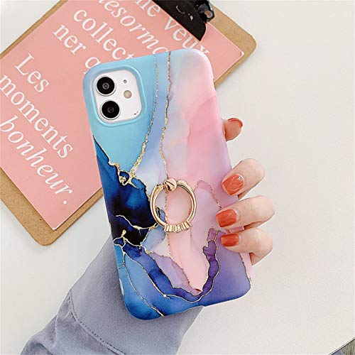 Bakicey iPhone 12 Pro Max Hulle iPhone 12 Pro Max Marmor Handyhulle mit 360 Grad Ring Stander Ultra Dunn Soft Silikon TPU Bumper Stosfest Case Anti kratzt Schutzhulle fur iPhone 12 Pro Max 06