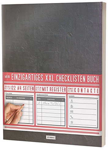 """Mein Einzigartiges XXL Checklistenbuch: 122 A4-Seiten, Softcover, Register uvm. / Für To Do\'s und Listen / PR501 """"Dark Wall"""""""