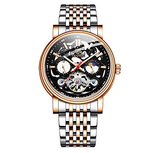 QZPM Hombres Automático Mecánico Relojes Acero Inoxidable Bracelet Analógico Luminosa Multifunción Impermeable Cronógrafo Business Relojes,Rose Black