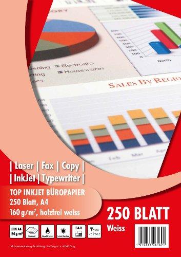 PVP 6169 - Top Inkjet Büropapier DIN A4, 160 g/qm, 250 Blatt, hochweiß