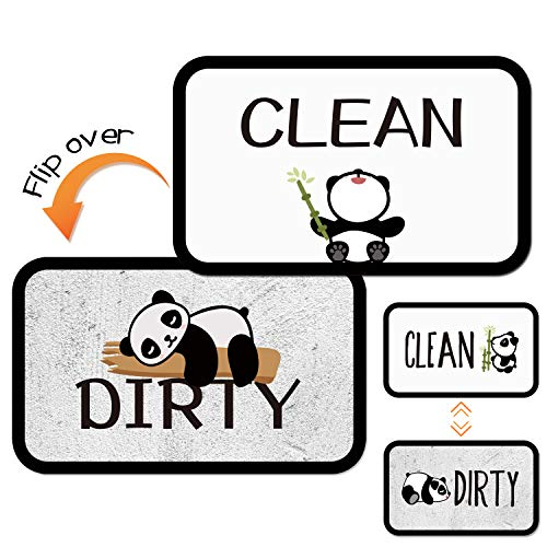 Dirty Clean Dishwasher Magnet Sign, 2 Pcs 4×2.5inches Panda Design Double Sided Reversible Indicator for Women, Dishwasher Accessories, Kitchen Appliance Label for Home Organization