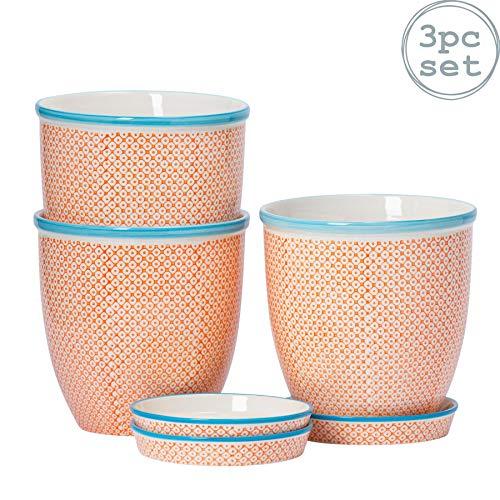 Nicola Spring Pots de Fleur en Porcelaine - avec Soucoupe - Motif Orange/Bleu - Ø 203 cm - Lot de 3
