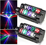 Kacsoo Mini Spider Moving Head Light, Led Moving Beam Light, Disco Lights 8 x 3W DMX 512 Dual Sweeper Pulse Strobe Effect Lights for Party Club DJ Disco Bar Ball Room KTV (2PC)