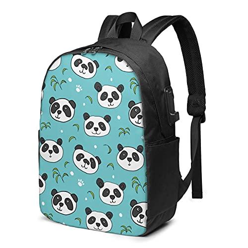Panda Bears - Mochila de viaje para portátil con puerto de carga USB para hombres y mujeres de 17 pulgadas, ver imagen, Talla única,