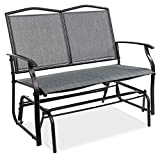 Best Choice Products 2-Person Outdoor Swing Glider, Patio Loveseat, Steel Bench Rocker for Deck, Porch w/Ergonomic Armrests, Textilene Fabric, Steel Frame - Gray