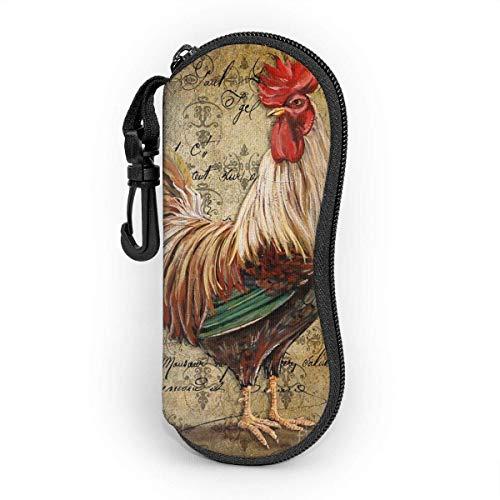 Funda suave para gafas de sol, bolsa de protección portátil ultraligera con clip para cinturón, diseño retro vintage de pollo