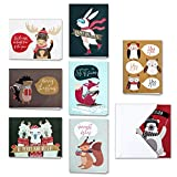 HERZOME 48 Pack Christmas Winter Holiday Greeting Cards With Envelopes, 8 Pattern Woodland Animals Holiday Xmas Cards