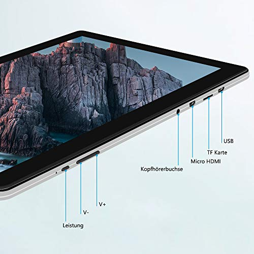 Tablet 10 Zoll Android 9.0, iProda Tablet-PC, 3 GB + 32 GB, Erweiterte Kapazität 128G, Ultra Dünn Metallschale, Quad-Core, 1,5 GHz, WLAN /Bluetooth/GPS/HDMI, 5000mAH Battery