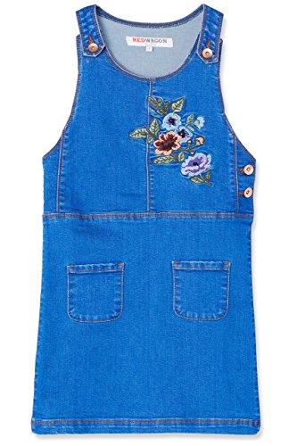 Marca Amazon - RED WAGON Vestido Vaquero Estilo Pichi para Niñas, Azul (Blue), 104, Label:4 Years
