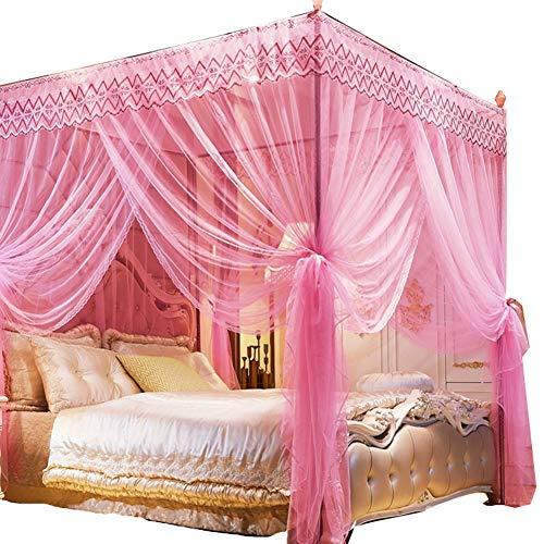 Horren, drie deuren voor huishoudelijk gebruik, prinseswind van 1,2 m 1,5 m 1,8 m bed, verdikte beugel,Pink,1.2m (bed)